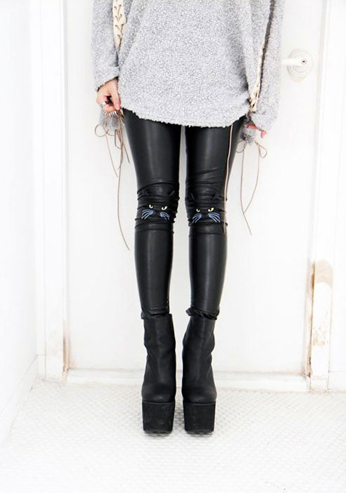 Cat-Face-Leather-Leggings-1