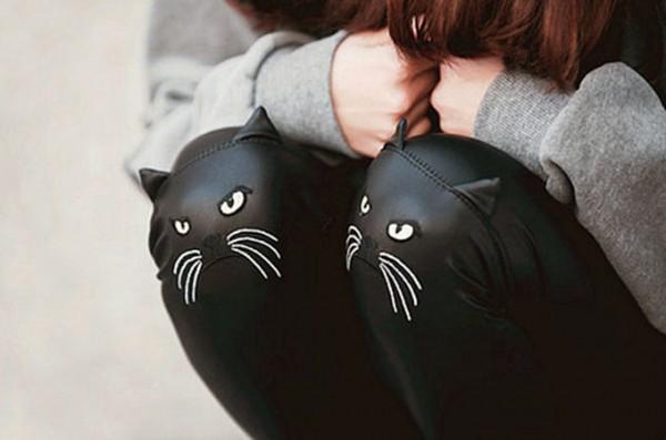 Cat-Face-Leather-Leggings