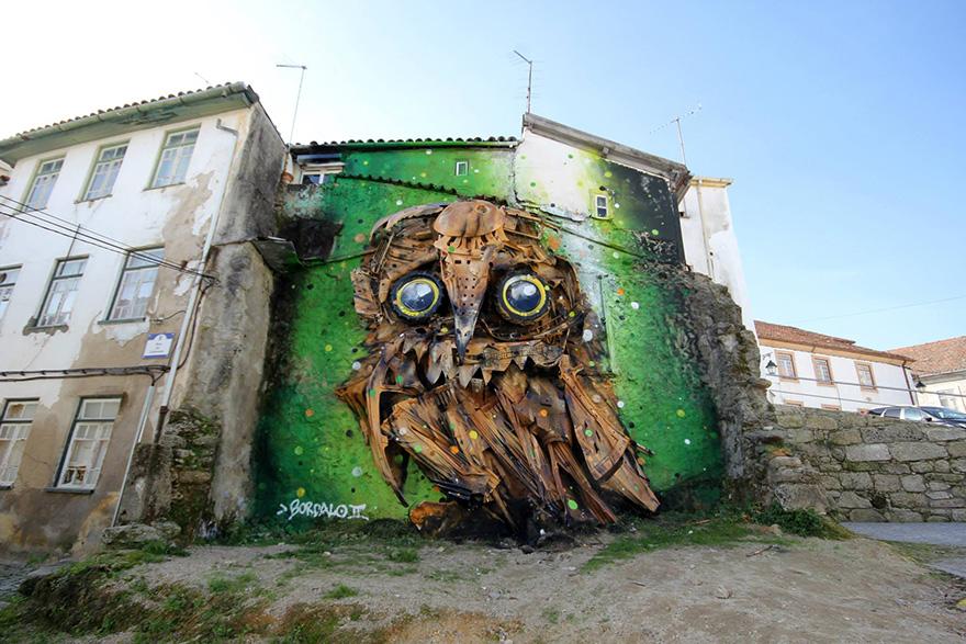 recycled-owl-sculpture-street-art-owl-eyes-artur-bordalo-1