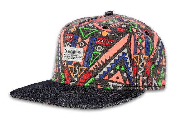DJINNS 5 Panel Snapback Cap Crazy Pattern Aztec Denim Black (Side)