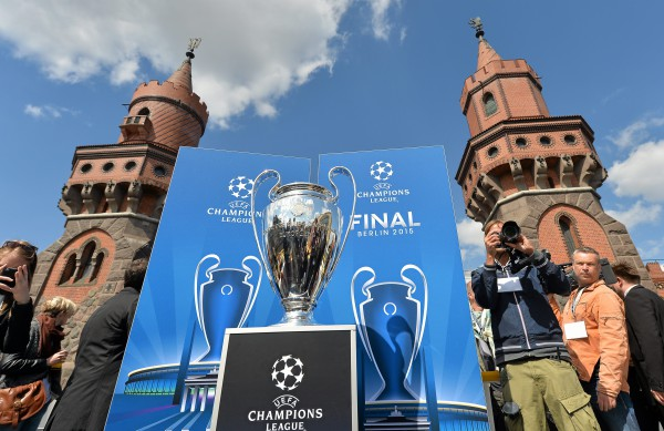 Tthe UEFA Champions League trophy passes through the city by boat during the UEFA Champions League City Tour - Legendary Moments, Berlin
