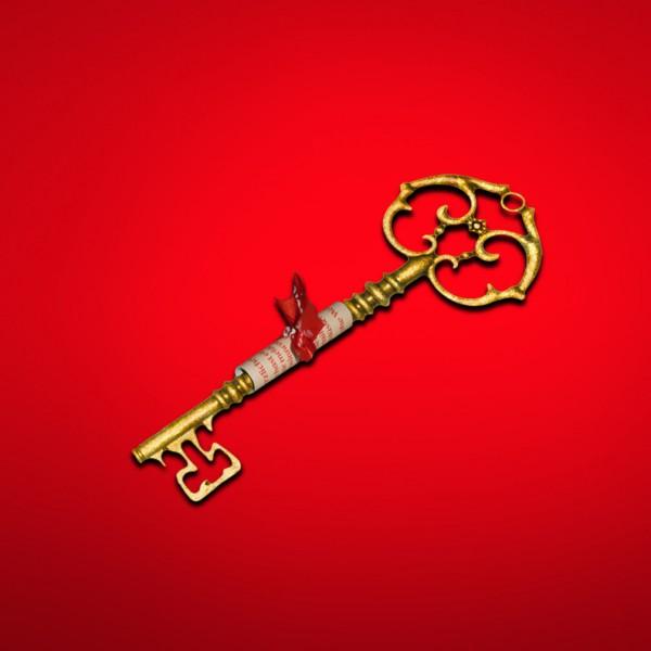 Schlüsselkomplett_mitBotschaft_GoldenerSchlüssel