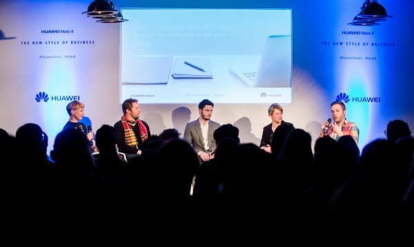 "Linsey Fryatt (l-r), Yatan Blumenthal, Baptiste Giabiconi, Agnes Uhereczky and James Laird discuss ""The New Style of Business"" with HUAWEI at Soho House in Berlin, 22 March 2016. Photo: HUAWEI/Gregor Fischer"