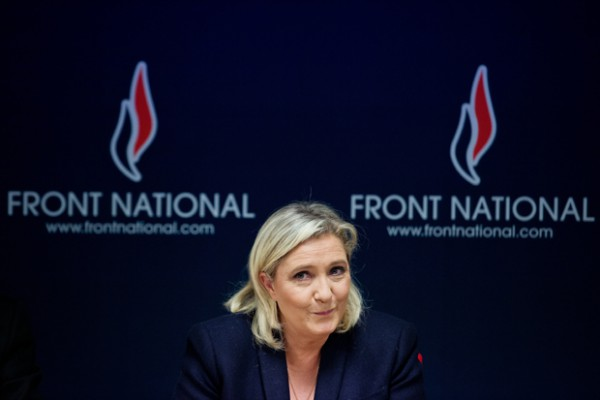 French leader of the French far-right party Front National (FN) Marine Le Pen delivers a press conference in Vannes, western France, on November 20, 2015 as part of the FN top candidate campaign for the December regional elections in Brittany. AFP PHOTO / JEAN-SEBASTIEN EVRARD (Photo credit should read JEAN-SEBASTIEN EVRARD/AFP/Getty Images)